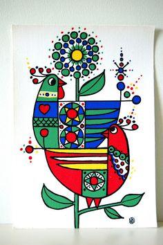 Vintage Swedish textile print / Lars Nyman / Mod art via Etsy Scandinavian Folk Art, Madhubani Art, Indian Folk Art, Madhubani Painting, Indian Art Paintings, Motif Floral, Tribal Art, Textile Prints, Fabric Painting