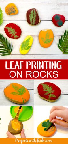 Leaf printing on rocks is a fun and easy rock painting activity that kids will love! This nature craft would make a wonderful addition to any fall decor and would look beautiful in a garden. Crafts for kids Easy Leaf Printing on Rocks Autumn Craft Easy Fall Crafts, Crafts For Kids To Make, Crafts For Teens, Diy Crafts, Kids Diy, Decor Crafts, Autumn Art Ideas For Kids, Camping Crafts For Kids, Garden Crafts For Kids