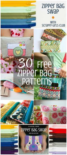 Have you joined the zipper bag swap yet? There are so many fun ideas and free zipper bag patterns to choose from that I'm not sure which one to make for my partner in the Scrappy Girls Club Swap.