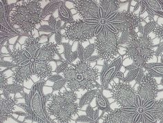 Grey Cotton Embroidered Poetic Lace Fabric by LalaceSupplies, $35.00