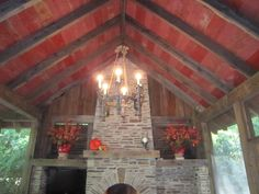 red barn wood ceiling