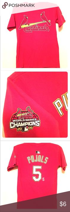 🎀 STL Cardinals 2006 World Serious Pujols Shirt Majestic Red St. Louis Cardinals 2006 World Series Albert Pujols #5 T-Shirt. Worn and washed twice. Great memorabilia for a true baseball fan! Last Pujols shirt I bought before he got traded to the Angels. 2006 was one of the. Eat years of his career. Size medium but fits like a men's small or kids large. Majestic Shirts & Tops Tees - Short Sleeve