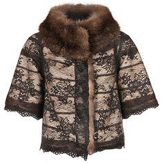 Пальто из соболя с накидкой из кружева Nijole