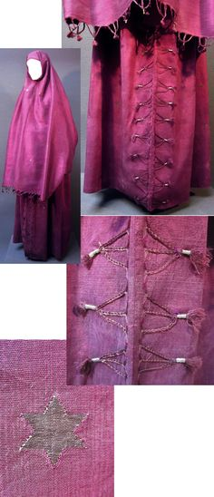 Late-Ottoman street-wear, ca. early 1900s. Purchased in Konya (1996). The heavy silk fabric (with brocaded silver star motif) comes possibly from Iraq, since the seller called it a 'Bağdat bürgü' (burqa from Baghdat). Made of two large rectangular pieces (ca. 110 x 210 cm), sewed together to form a baggy skirt & a kind of large airy cape. The 'cape' is edged with tassels; the front of the 'skirt' is adorned with braided ornaments.(Inv.n° fer005 - Kavak Costume Collection…