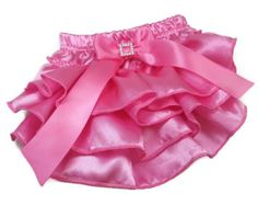 RUFFLE DIAPER COVER, Pink Satin Ruffled Diaper Cover with and Bow with Rhinestone Embellishment, Ruffled Baby Bloomers, Infant - Toddler