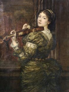 Blanche, Lady Lindsay, Playing the Violin, George Frederic Watts, 1877