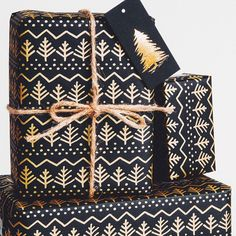 Our new Winter Tree / Gold on Black Gift Wrap. Find it on our @etsy www.etsy.com/shop/normansprintery #wrappingpaper