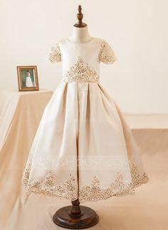 Ball Gown Knee-length Flower Girl Dress - Satin Short Sleeves Scoop Neck  With Appliques Sequins - Flower Girl Dresses - JJsHouse 858118447548