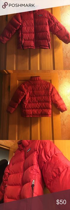 Patagonia kid's Down sweater Jacket Patagonia kid's Down sweater Jacket! Size: S 8. Color: Ramble Red. Good condition { Some ink stains & few tiny hole from wear, down inside pockets and on collar *Pictures shown*} Features: wind proof and water resistant, draw cord at hem, all zippers are functional! Patagonia Jackets & Coats Puffers