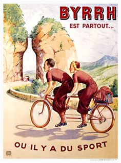 Byrrh cycles poster from 1937 France - Beautiful Vintage Posters Reproductions.