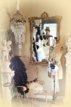 This photo has so many of my favorite things.  Crystal chandelier is for sale on etsy by Paris Couture Antiques.  $1500.00