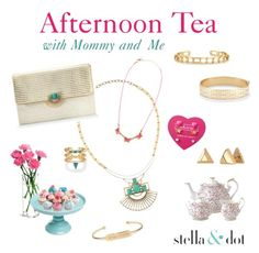 """""""Afternoon Tea Trunk Show with little girls"""" by caroline-rader-znaniec on Polyvore featuring Royal Albert and Stella & Dot"""