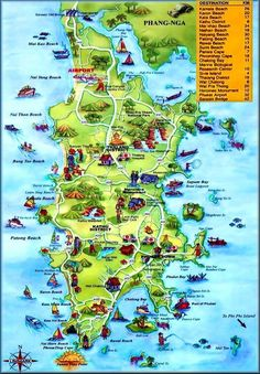Best Funky Map of Phuket, Thailand.  www.phuketgolfleisure.com Best Green Fee rates for Golf in Phuket Thailand.