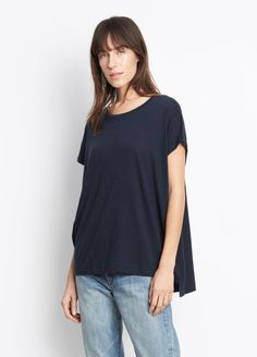 Vince Stacked Hem Tee -  Extended sleeve crew neck with a relaxed, drapey shape and a split seam high-low hem.