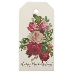 Classic Victorian Roses Lily of the Valley Romance Wooden Gift Tags - romantic wedding gifts wedding anniversary marriage party #woodenweddinggifts