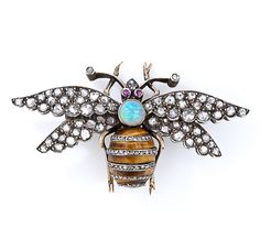 Victorian Diamond, Tiger's Eye, Opal and Ruby Bee Pin