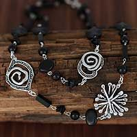 Onyx strand necklace, 'Maritime Mysteries'