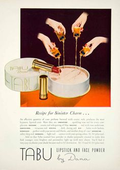 1949 Ad Vintage TABU Lipstick Face Powder Fragrance Perfume Cosmetics Make YMM3