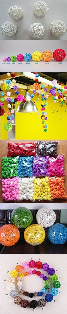 4pcs 100% Handmade Wicker Rattan Balls, Garden, Wedding, Party Decorative Crafts, Vase Fillers, Rabbits, Parrot, Bird Toys (10CM, 15 White)