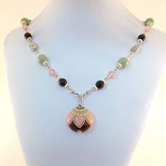 Necklace Golem Studio Pink and Brown and Green by CinLynnBoutique
