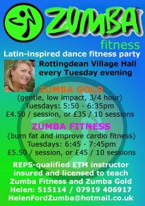 Zumba fitness comes to Rottingdean Village Hall in January 2013, with REPS-qualified instructor, Helen Ford from nearby Piddinghoe.    http://www.rottingdeanvillage.org.uk/zumba-fitness-moving-world-beat
