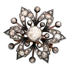 19th Century Diamond Brooch that is convertible into a hair ornament set in silver on gold