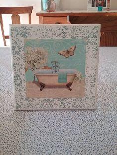 Bathroom Crafts, Tile Crafts, Decoupage Box, Decoupage Vintage, Amazing Bathrooms, Chalk Paint, Stencils, Shabby Chic, Wall Art