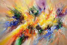 """Joie De Vivre XL 2  Modern art. Acrylic painting on canvas 61.0""""w x 41.3""""h x 1.5""""d"""