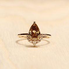 Colored Engagement Rings, Diamond Engagement Rings, Diamond Sizes, Diamond Cuts, Diamond Alternatives, Pear Shaped Diamond, Champagne Diamond, Wedding Rings