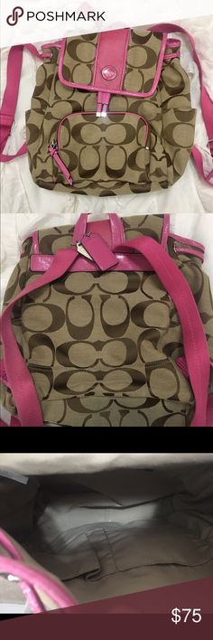 COACH pink and tan backpack comfortably fits large purse items, used once, GREAT condition Coach Bags Backpacks