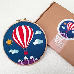 The Hot Air Balloon Embroudery Kit has been flying off the shelves this week. No pun intended. well maybe 😉 Embroidery Supplies, Embroidery Patterns, Hand Embroidery, Air Ballon, Hot Air Balloon, Types Of Stitches, Little Designs, Satin Stitch, Printing On Fabric