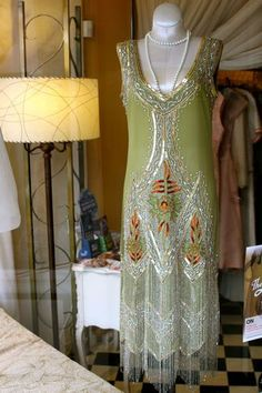 1920s Style Pale Green Flapper Dress