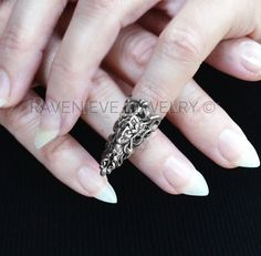 Nail Ring Elf Maiden Elegant  Armor Ring Nail jewelry Antique Silver plate. $16.00, via Etsy.