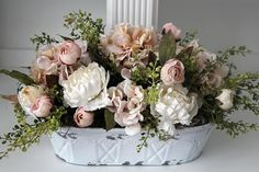 French Country/Cottage Decor Shabby Chic Centerpiece Peonies
