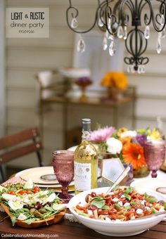A light rustic dinner party menu for casual entertaining at home.