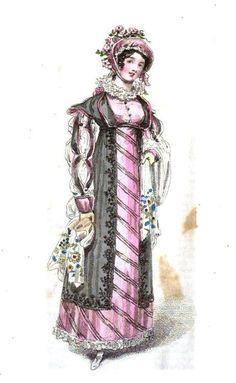 Opera dress, pink satin ornamented with black velvet under black satin robe, from Belle Assemblee March 1816.