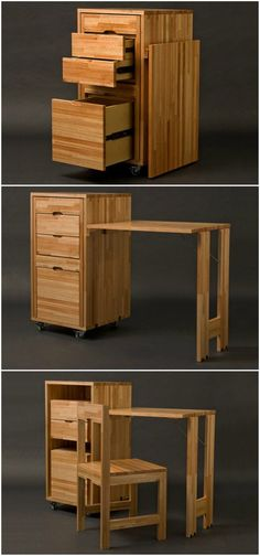 Transforming cabinet with hidden table and chairs from Claudio Sibille - Food: Veggie tables Compact Furniture, Space Saving Furniture, Home Furniture, Furniture Design, Plywood Furniture, Chair Design, Modern Furniture, Design Design, Small Table And Chairs
