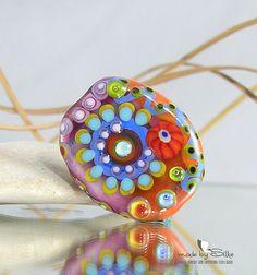 Handmade lampwork bead focal -- C u d d l e -- free-formed -- SRA -- glass -- Silke Buechler via Etsy