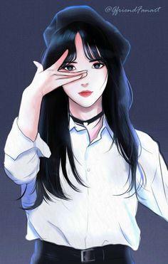 Manga Girl, Anime Art Girl, Kpop Drawings, Kawaii Drawings, Girl Cartoon, Cartoon Art, Sinb Gfriend, Cute Girl Drawing, Cute Couple Art