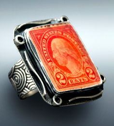 Sterling Silver Adjustable Size Vintage Stamp Ring by Tommy Conch Designs. American Made. See the artist's work at the 2014 Buyers Market of American Craft, Philadelphia, PA. January 18-21, 2014. americanmadeshow.com #ring, #jewelry, #vintage, #stamps, #vintagestamps, #washington, #georgewashington, #americanmade