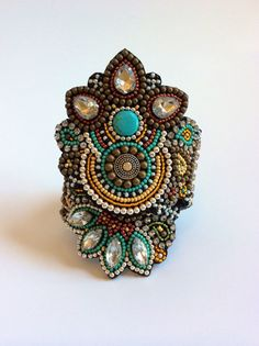 Bead Embroidery Cuff Bracelet Custom Order Please от perlinibella