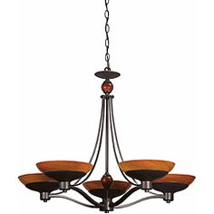 @Overstock - This charming Triarch International Halogen chandelier is finished in bronze. Highlighted with 5-lights and a amber hand-blown art glass shade.http://www.overstock.com/Home-Garden/Triarch-International-Halogen-VI-5-light-Oil-Rubbed-Bronze-Chandelier/6382432/product.html?CID=214117 $585.00