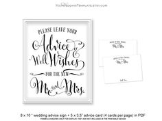 Instant download wedding advice sign and wedding advice cards that you can print as many as you need at home. PDF files includes: 1 page