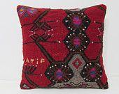 chevron kilim pillow red throw pillow floral decorative pillow 18x18 pillow case wool throw pillow vintage home decor flower pillow 29006