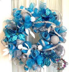 Turquoise Wreath | deco-mesh-turquoise-silver-white-1