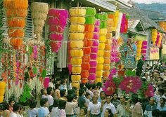 """Philippine """"Pahiyas"""" festival..a celebration of good harvest..These colorful chandeliers are made of rice flakes!"""