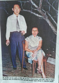 Mr & Mrs Lee at a party in 1955. Mr Lee was a chain smoker until 1957 when he began to lose his voice.