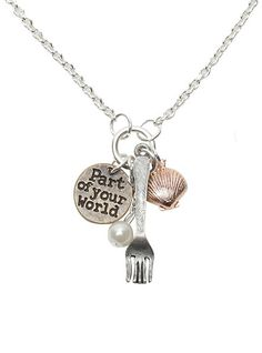 Disney The Little Mermaid Fork Shell Charm Necklace | Hot Topic. I WANT THIS MORE THAN WORDS CAN EXPRESS REALLY