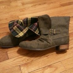 Dirty Laundry Chickadee Boots Grey motorcycle style fold over booties. Can be worn folded down or up. Dirty Laundry Shoes Ankle Boots & Booties