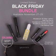 BLACK FRIDAY BUNDLE - A savings of $43! What a great deal! 3D Fiber Lash Mascara, Uplift Eye Serum, Brow Gel, Opulence Lipstick, and FREE exclusive makeup bag!  www.lovelylashes.biz